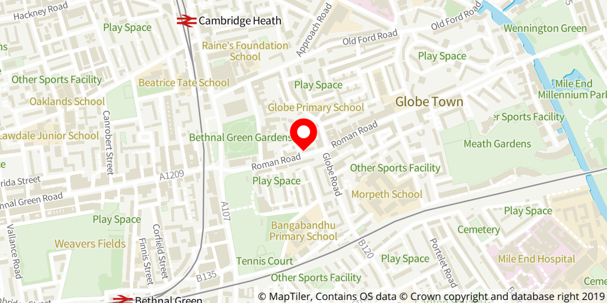 Map of Bethnal Green fire station