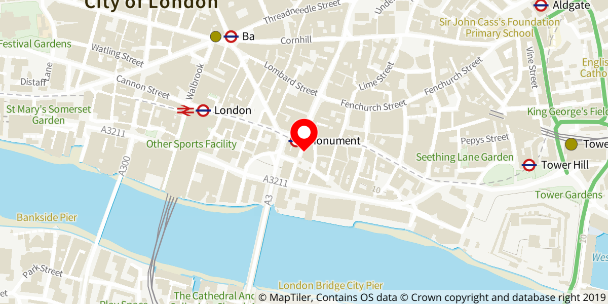 Map of Monument Tube Station (Fish Street Hill exit)