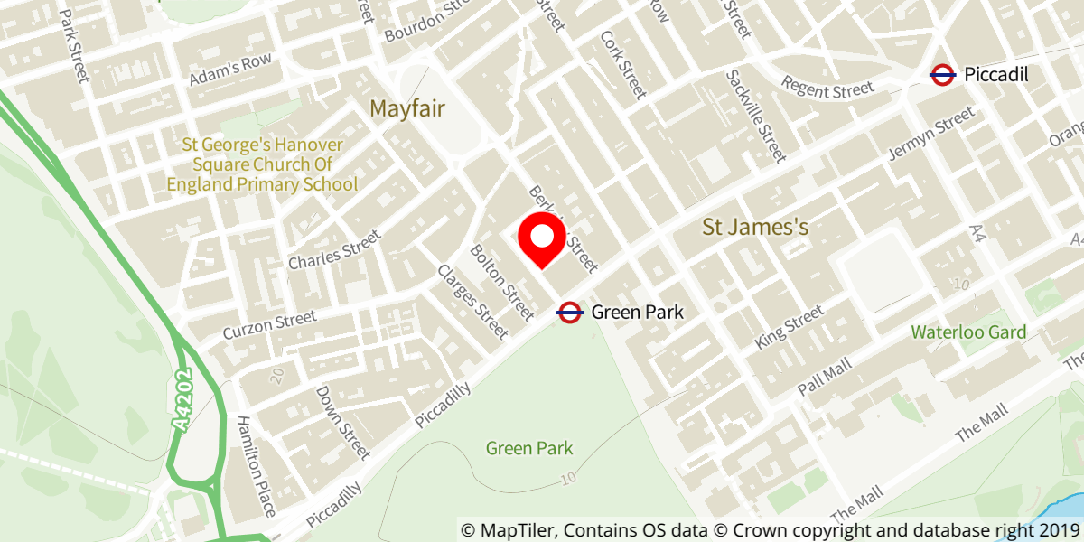 Map of Green Park tube station (north exit)