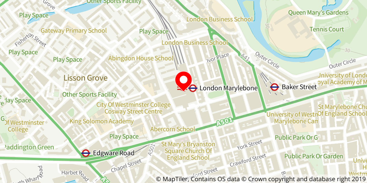 Map of Marylebone railway station